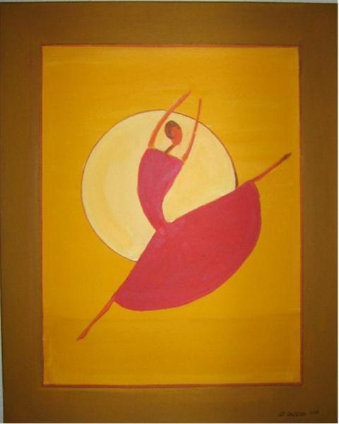 Tanzend Ballerina gross 40 x 50 cm Acryl