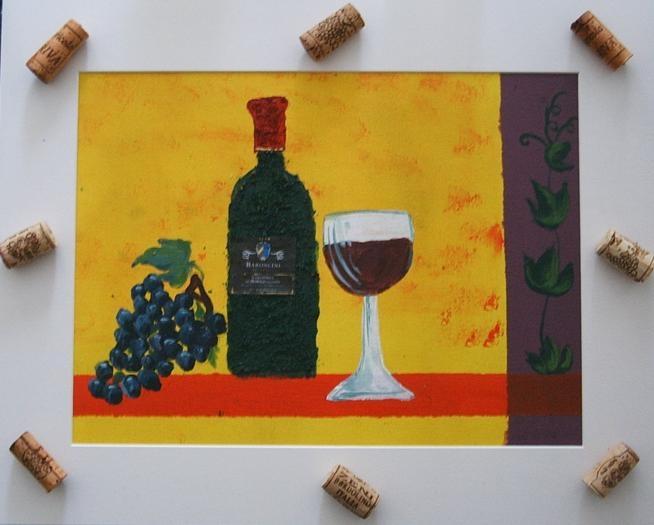 Weinflasche 39 x 49  Acryl mit Sand & Kork