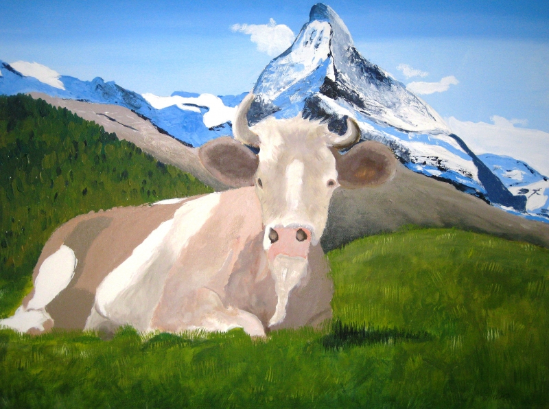 Matterhorn mit Kuh 80 x 60