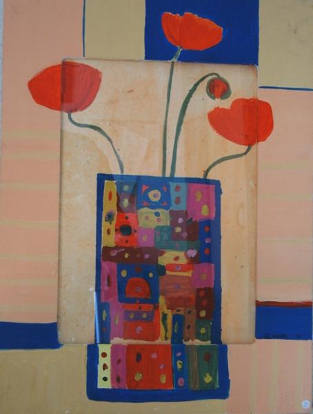 Mohnblume mit Vase 40 cm x 30 Acryl und Aquarell