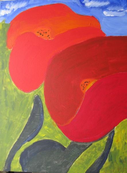 Rosen und Mohn Blumen gekreuzt