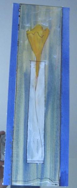 Calla im Spiegel 44  x 20  Acryl & Aquarell