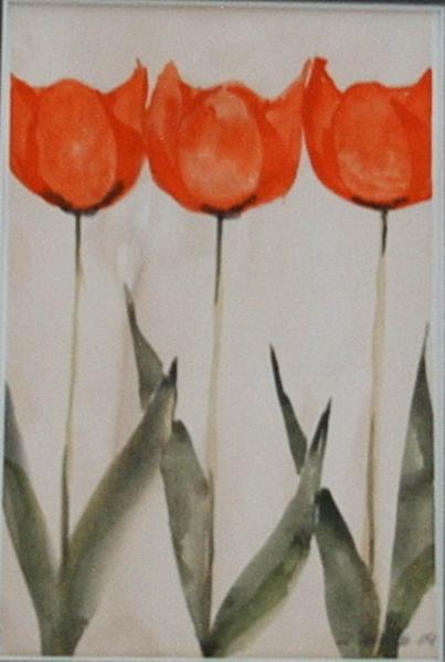 Tulpen Triologie 3 14  x 20 Aquarell