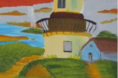 Leuchtturm in Herbst 70  x 30 Acryl
