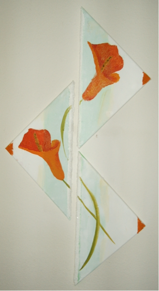 Calla im Dreieck 80  x 20 Acryl mit Sand