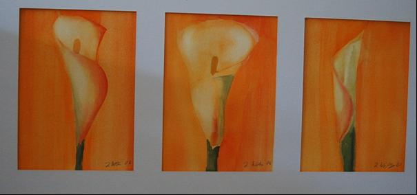 Drei Calla 14cm x 31 cm Acryl Verkauft