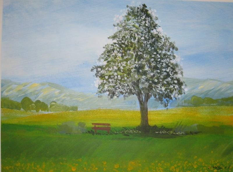 Einsammer Baum 53 x 40  Acryl