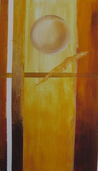 Japanische sonne mit Feder 60 x 30 Acryl