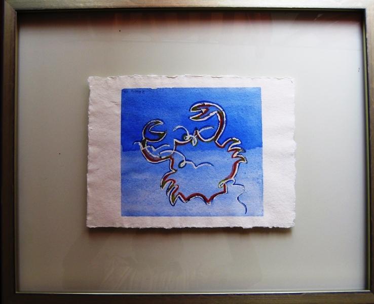 Krebs auf Schwimmendeglas Aquarell 50 x 45