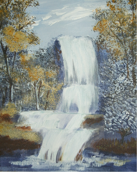 Wasserfall im Herbst 34.5  27.5 Acryl