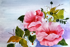 Rosa Mohn 43 x 34 Acryl